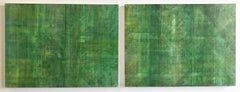 C14-10 (Minimalist Green Wall Sculpture in Three Panels)