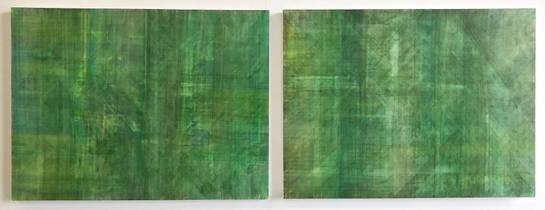 Ginny Fox Abstract Painting - C14-10 (Minimalist Green Wall Sculpture in Three Panels)