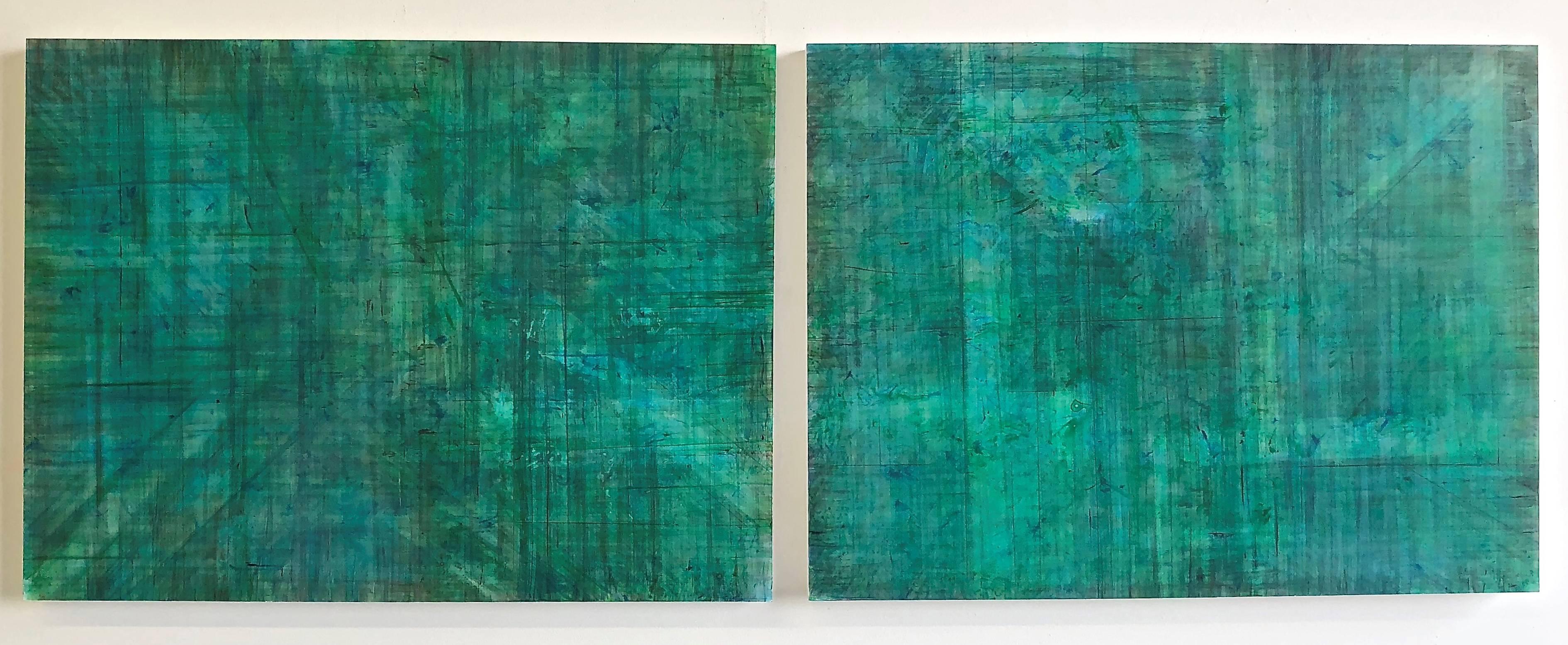 C15-1 (Minimalist Emerald Wall Sculpture on Two Panels)