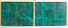 C15-1 (Minimalist Emerald Wall Sculpture on Two Panels)