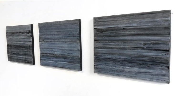 C18-13 [A,B,C] (Abstract Rectangular Triptych in Striated Black and Blue) - Painting by Ginny Fox