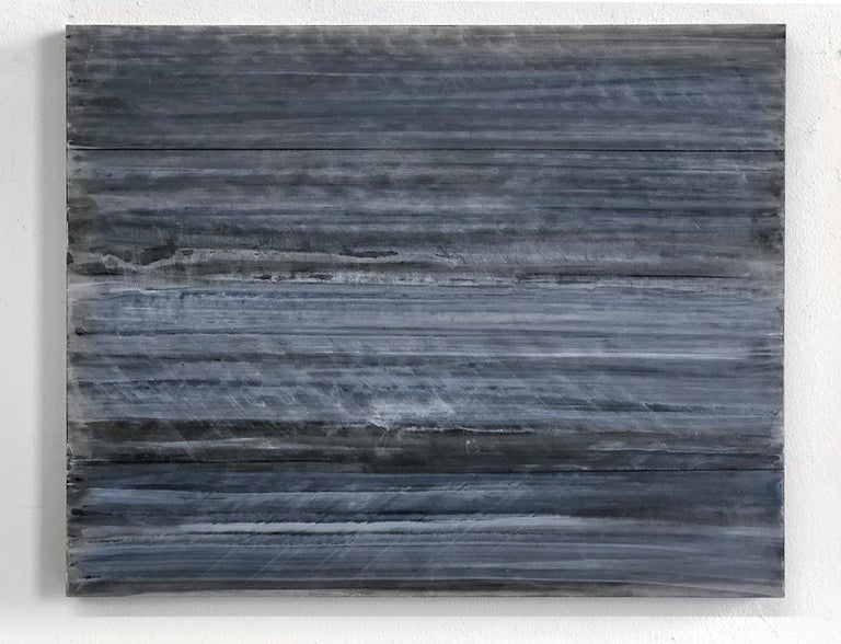 C18-13 [A,B,C] (Abstract Rectangular Triptych in Striated Black and Blue) - Contemporary Painting by Ginny Fox