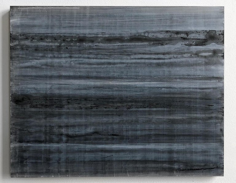 C18-13 [A,B,C] (Abstract Rectangular Triptych in Striated Black and Blue) For Sale 1