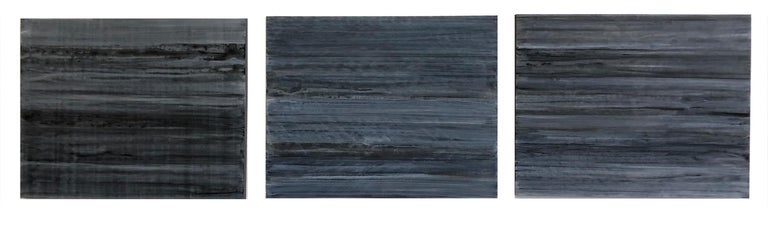 Ginny Fox Abstract Painting - C18-13 [A,B,C] (Abstract Rectangular Triptych in Striated Black and Blue)