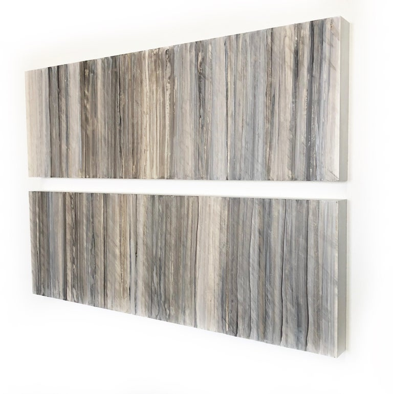 Minimalist Abstract Color Field Painting in Beige, Grey, & Light Blue (C18-9) - Gray Abstract Painting by Ginny Fox