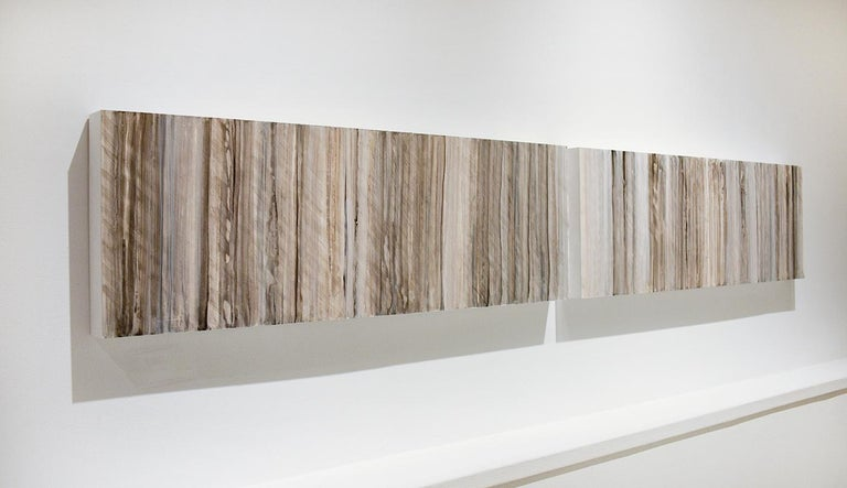 Nature-Inspired Minimalist Abstract Color Field Painting on 2 Panels in earthy tones of beige, grey, light brown and light blue Acrylic on 2 wood panels Each panel is 12 x 36 x 2 inches Suggested installation is 1-2 inches between each panel Panels