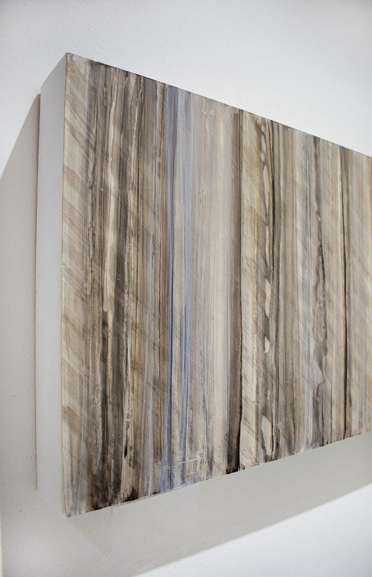 Minimalist Abstract Color Field Painting in Beige, Grey, & Light Blue (C18-9) For Sale 2