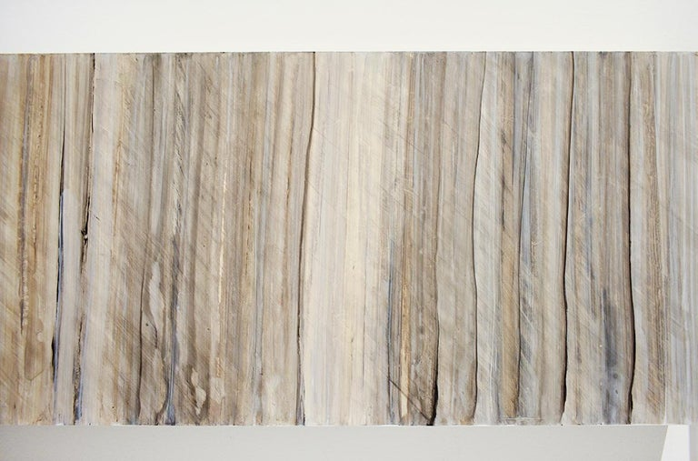 Minimalist Abstract Color Field Painting in Beige, Grey, & Light Blue (C18-9) For Sale 3