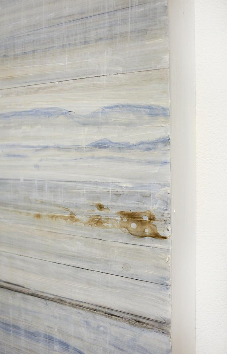 Nature-Inspired Minimalist Abstract Color Field Painting on 2 Panels in light blue and white with details of earthy brown Acrylic on 2 wood panels Each panel is 36 x 24 x 2 inches Suggested installation is 1-2 inches between each panel Panels can be