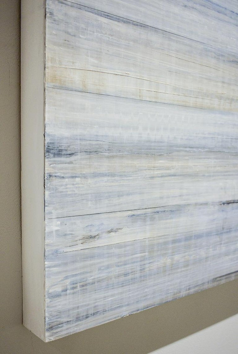 Minimalist Abstract Color Field Painting in Light Blue & White (C19-3) For Sale 1