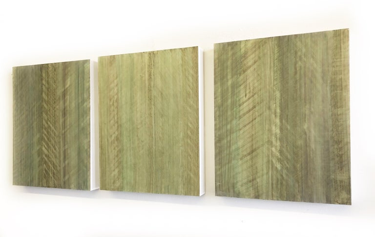 Minimalist Abstract Color Field Painting in Light Sage Green (C18-8) - Sculpture by Ginny Fox