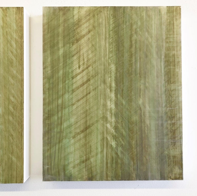 Minimalist Abstract Color Field Painting in Light Sage Green (C18-8) - Brown Abstract Sculpture by Ginny Fox