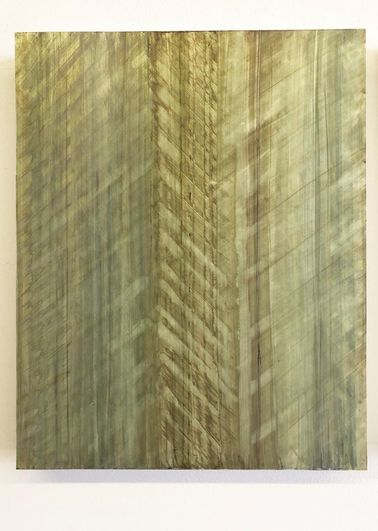 Nature-Inspired Minimalist Abstract Color Field Painting on 3 Panels in Sage Green  Acrylic on 3 wood panels Each panel is 20 x 16 x 2 inches Suggested installation is 1-2 inches between each panel Panels can be oriented in any direction Overall
