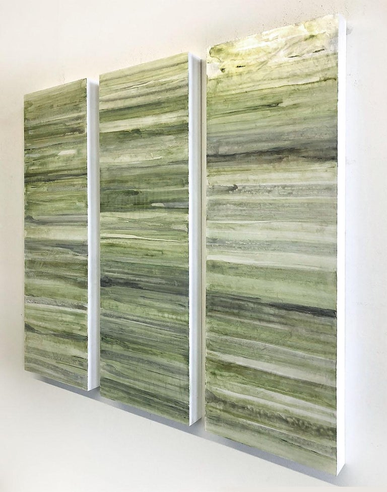 Minimalist Abstract Color Field Painting in Sage Green, Grey, and Black (C20-6) - Sculpture by Ginny Fox