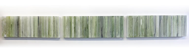 Minimalist Abstract Color Field Painting in Sage Green, Grey, and Black (C20-6) - Brown Abstract Sculpture by Ginny Fox