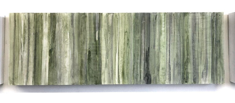 Nature-Inspired Minimalist Abstract Color Field painting on three wood panels in shades of green, gray, and black  Acrylic on 3 wood panels Each panel is 12 x 36 x 2 inch each Suggested installation is 1-2 inches between each panel Panels can be