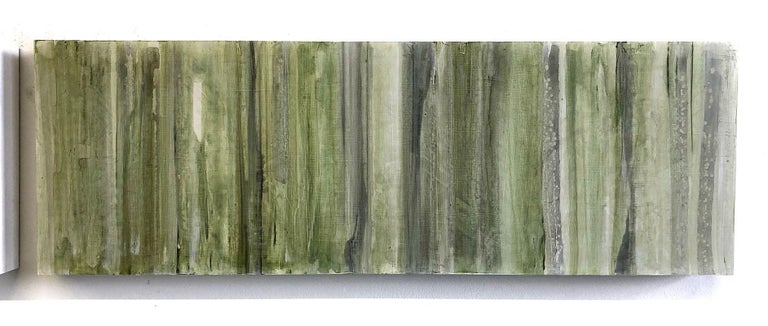 Minimalist Abstract Color Field Painting in Sage Green, Grey, and Black (C20-6) For Sale 1