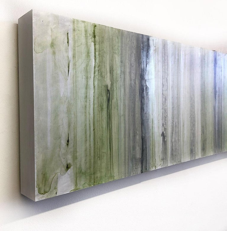 Minimalist Abstract Color Field Painting in Sage Green, Grey, and Black (C20-6) For Sale 2