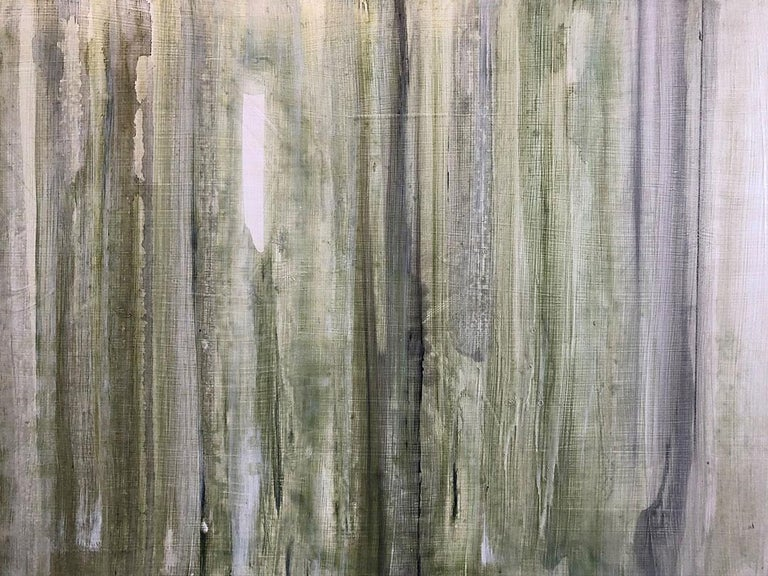 Minimalist Abstract Color Field Painting in Sage Green, Grey, and Black (C20-6) For Sale 3