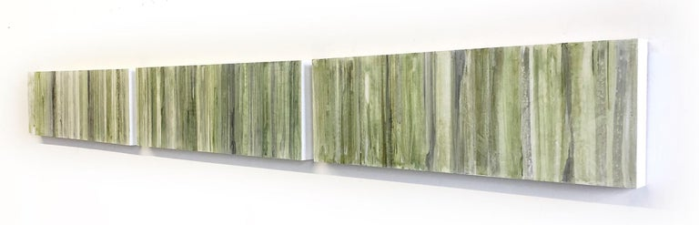 Minimalist Abstract Color Field Painting in Sage Green, Grey, and Black (C20-6) For Sale 5