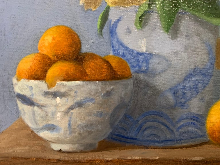 Arrangement With Clementines by Ginny Williams Framed Oil on Canvas Still Life For Sale 5