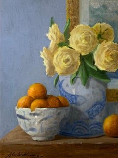 Arrangement With Clementines by Ginny Williams Framed Oil on Canvas Still Life