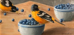 Birds of a Feather by Ginny Williams, Framed Oil on Board Still-Life Painting