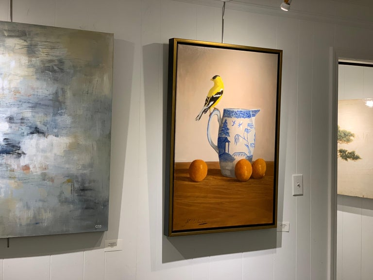 Blue Willow, Gold Finch by Ginny Williams, Framed Realist Still-Life Painting For Sale 1