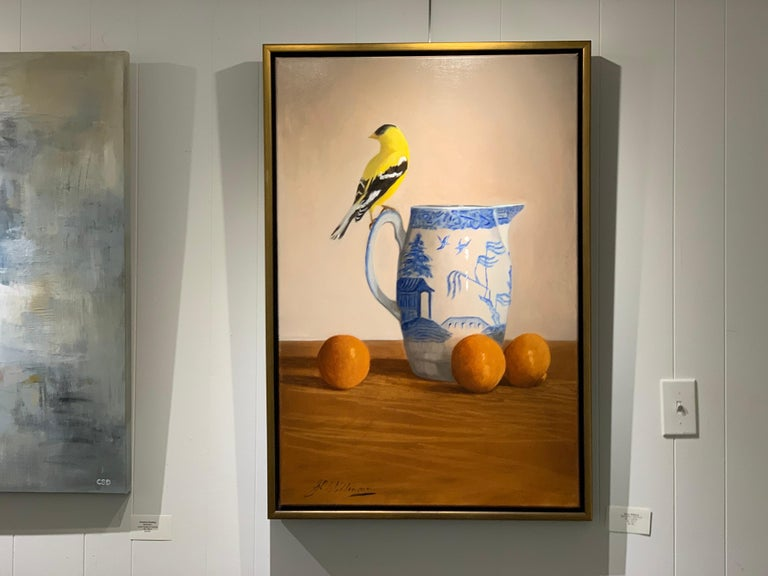 Blue Willow, Gold Finch by Ginny Williams, Framed Realist Still-Life Painting For Sale 2
