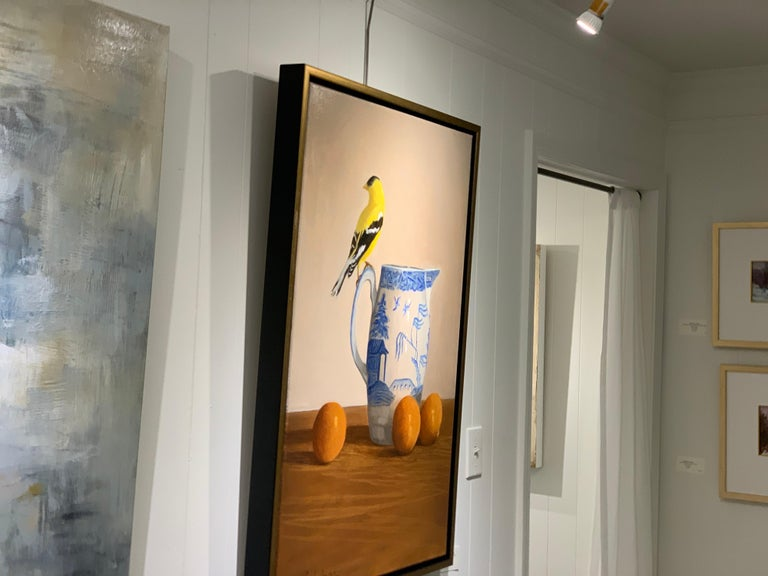 Blue Willow, Gold Finch by Ginny Williams, Framed Realist Still-Life Painting For Sale 3