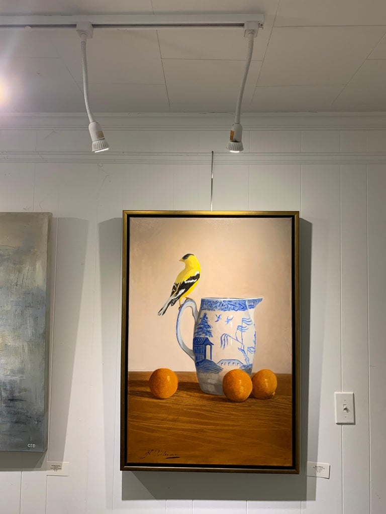 Blue Willow, Gold Finch by Ginny Williams, Framed Realist Still-Life Painting For Sale 4