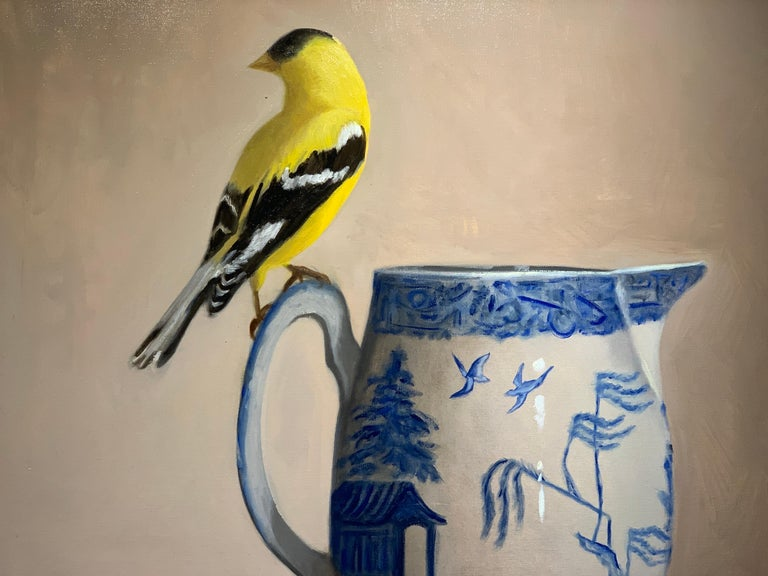 Blue Willow, Gold Finch by Ginny Williams, Framed Realist Still-Life Painting For Sale 7
