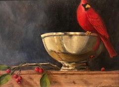 Still Life in Red by Ginny Williams, Small Framed Oil on Board Bird Painting