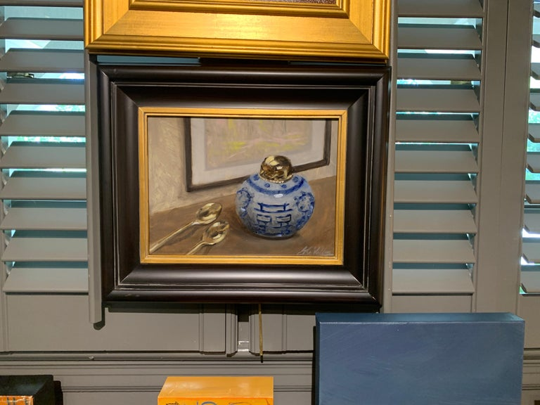 Still Life With Blue by Ginny Williams Framed Oil on Canvas Still Life For Sale 1