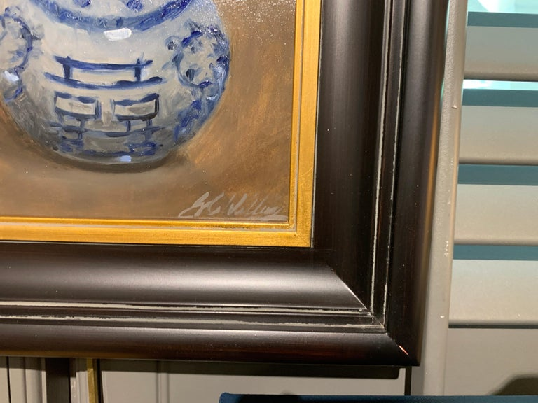 Still Life With Blue by Ginny Williams Framed Oil on Canvas Still Life For Sale 3