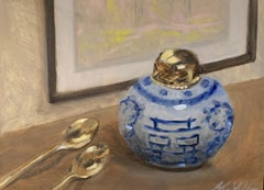Still Life With Blue by Ginny Williams Framed Oil on Canvas Still Life