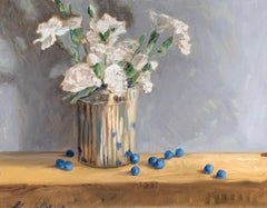 Still Life with Carnations and Blueberries by Ginny Williams, Framed Realist Art