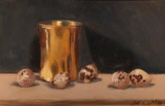 Still Life with Quail Eggs by Ginny Williams, Framed Realist Still-Life Painting