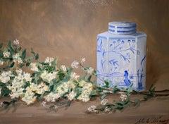 Still Life With Spirea by Ginny Williams Framed Oil on Canvas Still Life
