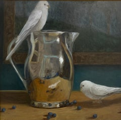 The Budgies Came Out To Play by Ginny Williams Framed Canvas Still Life Painting