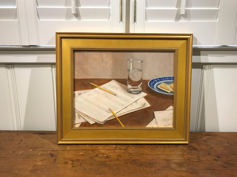 The Composer by Ginny Williams, Small Framed Oil on Linen Realist Painting For Sale 2