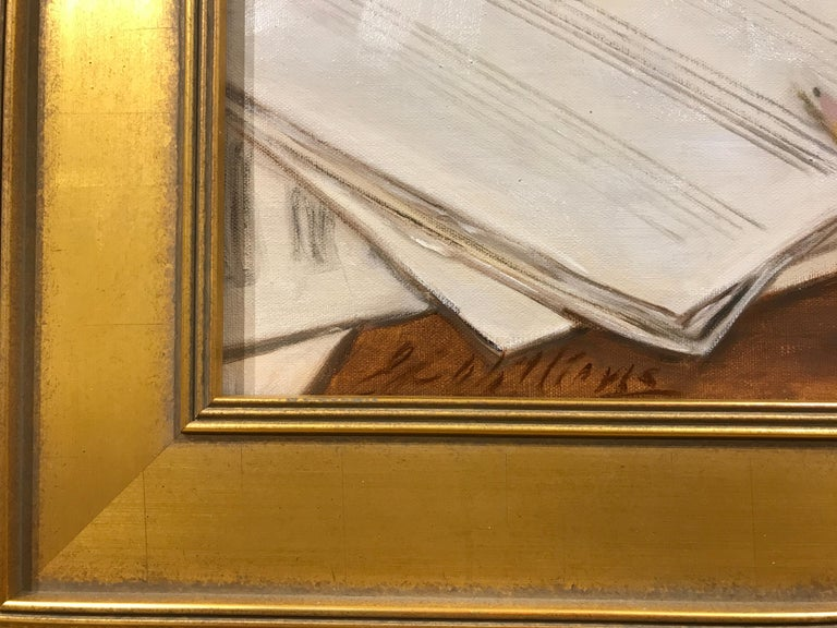 The Composer by Ginny Williams, Small Framed Oil on Linen Realist Painting For Sale 3