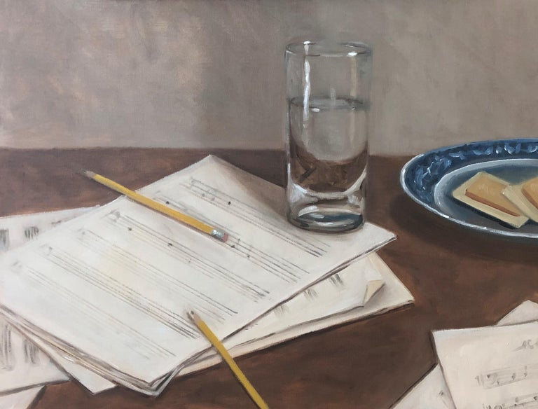 'The Composer' is a small framed oil on linen realist still-life painting created by American artist Ginny Williams in 2019. Featuring a soft palette made of beige, brown, white and blue tones, the painting evokes the creative process of a composer.