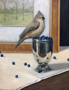 The Intruder by Ginny Williams, Small Framed Realist Oil on Linen Bird Painting