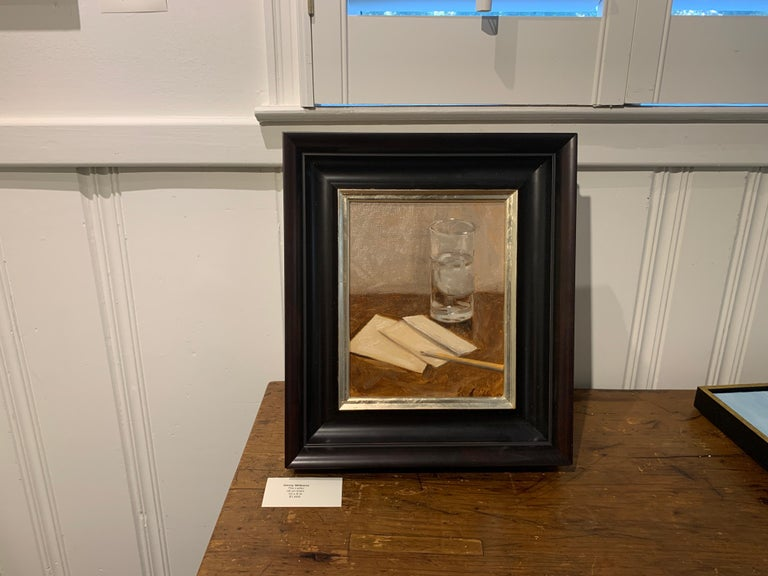 The Letter by Ginny Williams, Small Framed Oil on Linen Realist Painting For Sale 1
