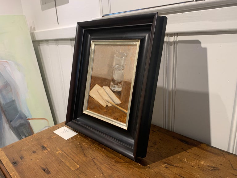The Letter by Ginny Williams, Small Framed Oil on Linen Realist Painting For Sale 5