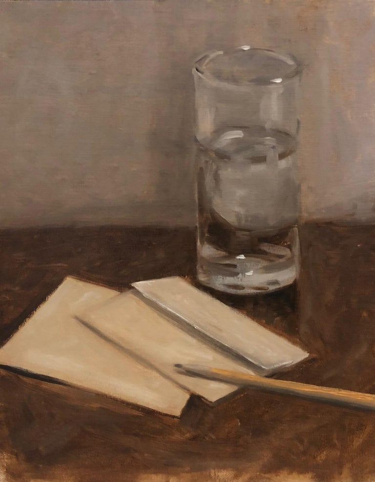 'The Letter' is a small framed oil on linen realist still-life painting created by American artist Ginny Williams in 2020. Featuring a soft palette made of beige, brown, white and blue tones, the painting evokes the creative process of a composer. A