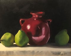 The Red Jug Ginny Williams, Small Framed Oil on Canvas Still Life Painting