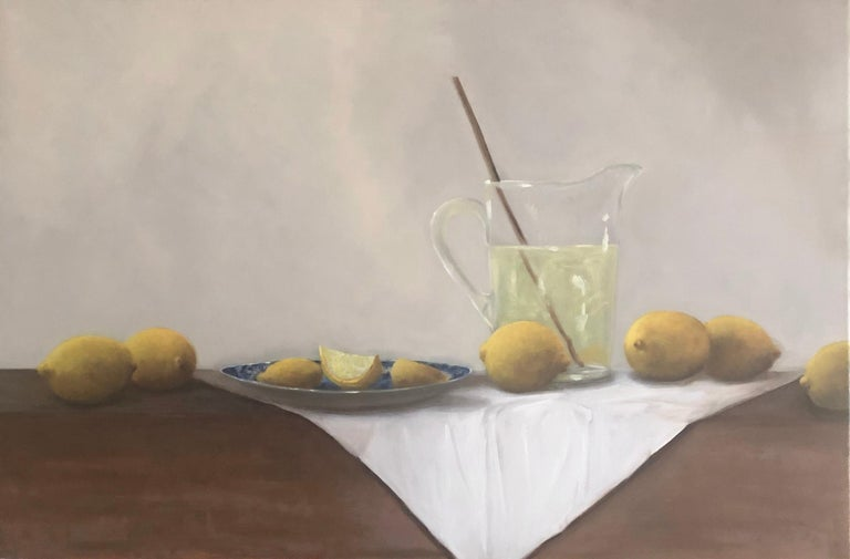 'When Life Gives You Lemons' is a framed realist oil on linen still-life painting created by American artist Ginny Williams in 2020. Featuring a lovely palette made of yellow, neutral, white and neutral tones, the painting depicts lemons with a