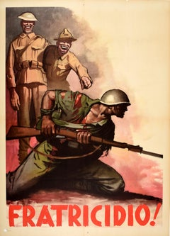 Original Vintage Poster Fratricidio Fratricide WWII Fascist War Propaganda Italy